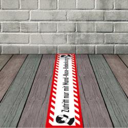 Fußbodenaufkleber Zutritt nur mit Mund-Nase-Bedeckung