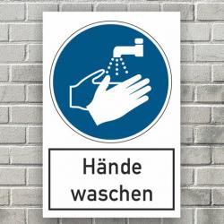 Aufkleber Hände waschen 30x20 cm