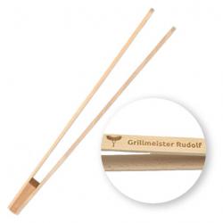 Grillzange aus Holz - Würstchenzange 40 cm mit Gravur