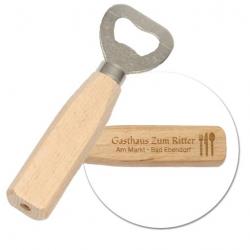 Flaschenöffner aus Holz mit Gravur