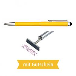Heri Stamp & Touch Pen 3307 Stempelkugelschreiber Gelb mit Gutschein