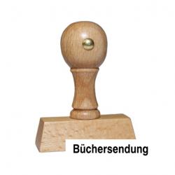 Holzstempel mit Text: Büchersendung