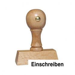 Holzstempel mit Text: Einschreiben