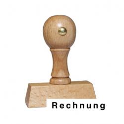 Holzstempel mit Text: Rechnung