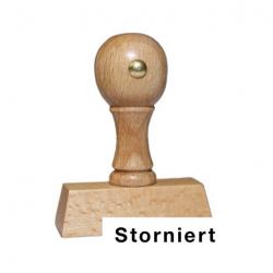 Holzstempel mit Text: Storniert