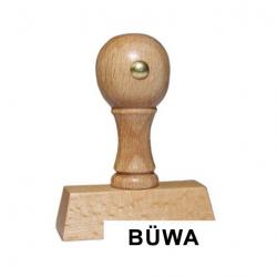Holzstempel mit Text: BÜWA