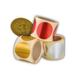 Prägezangen Haftetiketten 250 Stück auf Rolle in rot, silber oder gold