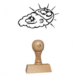 Holz Motivstempel Motiv Q21 Sonne und Wolke