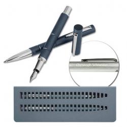 WEDO Schreibset Montaro Kugelschreiber und Füller mit Gravur im Metalletui