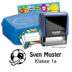 Schulstempel-Set blau Brotbox mit Trodat Printy 4912