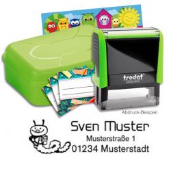 Schulstempel-Set grün Brotbox mit Printy 4912, Aufkleber, Stundenplan