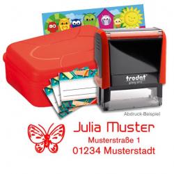 Schulstempel-Set rot Brotbox mit Printy 4912, Aufkleber, Stundenplan