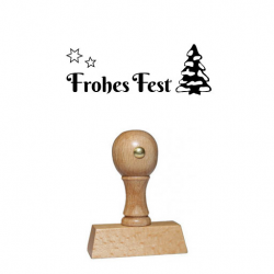 Weihnachtsstempel 24 Holz Frohes Fest mit Tannenbaum